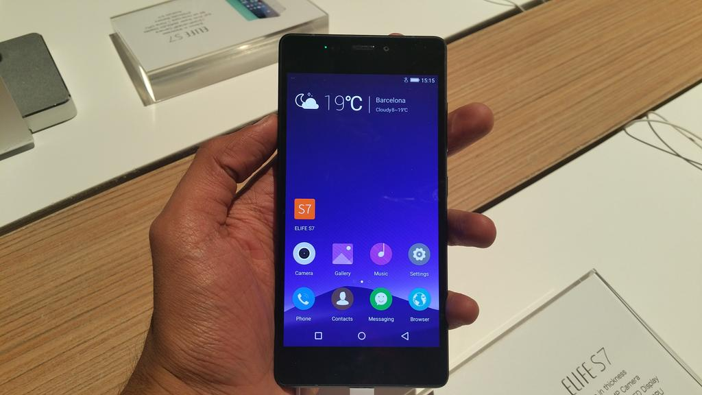 It's the Gionee Elife S7. Coming in India in the next month.  #MWC15 @GioneeIndia http://t.co/d7Kzi67zzf