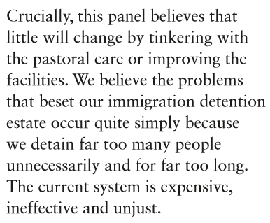 A damning accessment of detention from #detentioninquiry chair Sarah Teather MP. Huge changes are clearly needed. http://t.co/xmf4frzWrV
