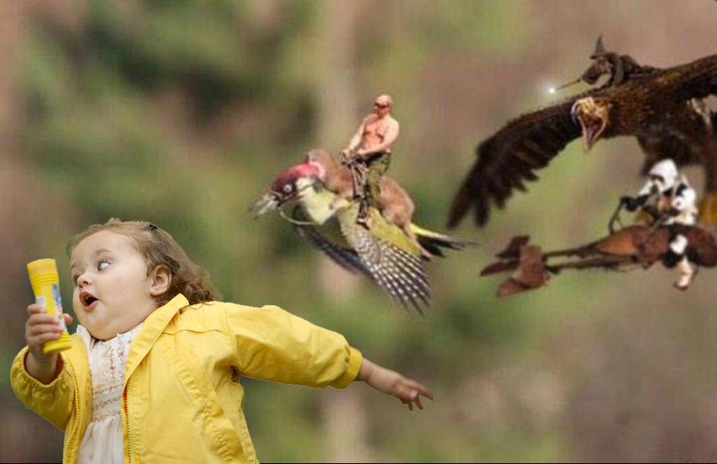 Прикол картинка девочка убегает, зайцы