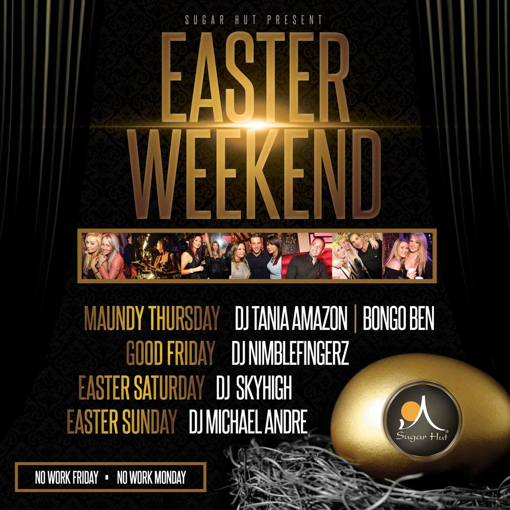 RT @sugarhut: Our 4 Day Easter weekend is not far away!!! No work on Friday or Monday #BankHoliday http://t.co/NPA3DXCcBm