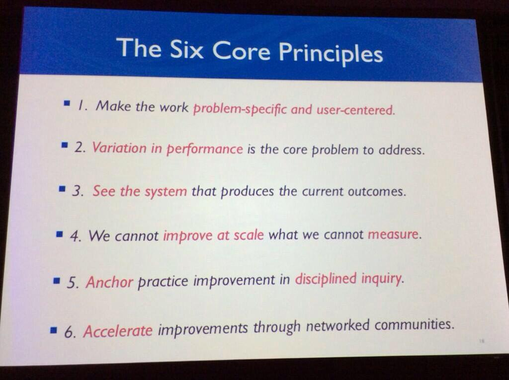 Tony Bryk preaching the 6 core principles of improvement. #CarnegieSummit http://t.co/pyxJ8ImA2j http://t.co/IAh2NLNcrZ