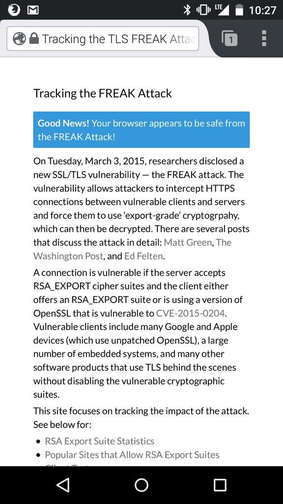 とりあえずFREAK攻撃についてFirefox for Androidがセーフ、Chrome for Androidはアカンということを確認した。 http://t.co/ygnAeqsYYE