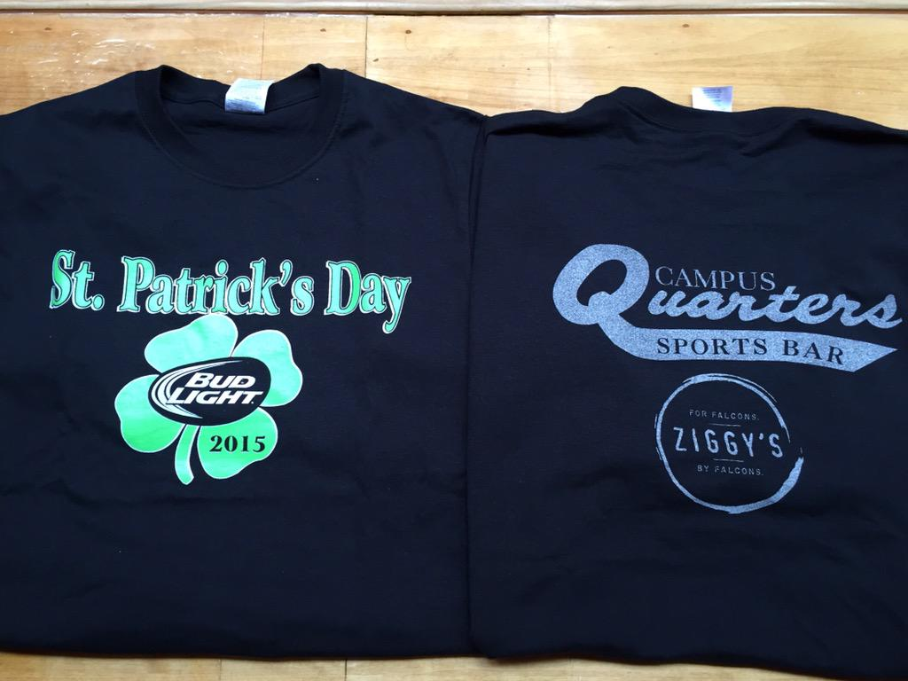 St. Pats shirts are in!!  $15 gets you breakfast @Campus_Quarters AND lunch @ZiggysBG.  Not to mention a cool shirt. http://t.co/l9L7PxvA3Y