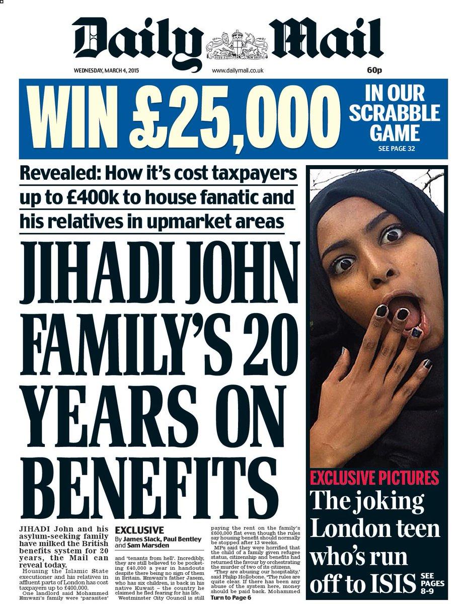 """Wednesday's daily mail: """"jihadi john family's 20 years on ... Daily Mail Uk"""