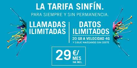 TARIFA LASINFIN, 20 GIGAS y llamadas ilimitadas en 4G