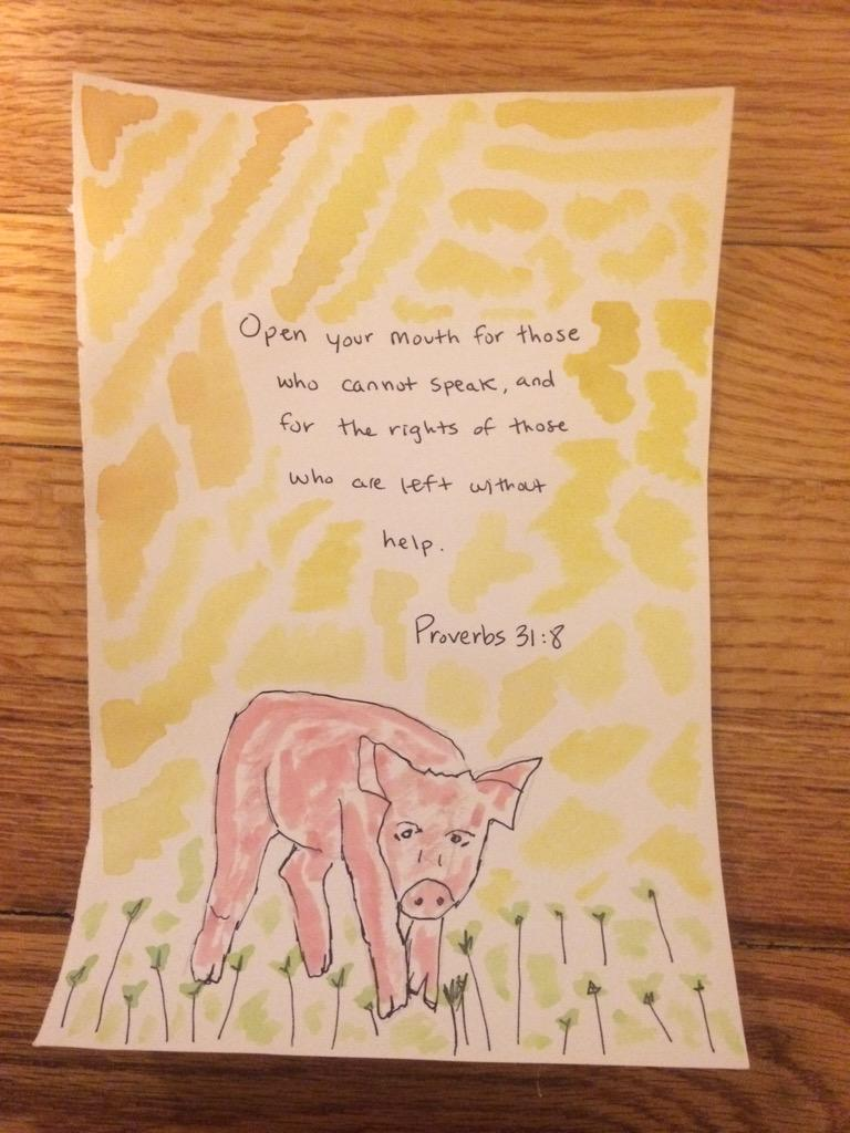 Painted this morning by our daughter. She is beautiful inside and out...and vegan through and through. http://t.co/ghGbUdLBqk