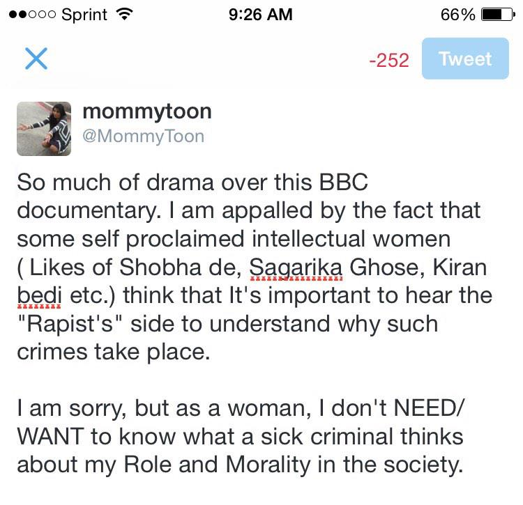 ...because I don't NEED to know what a Rapist thinks about my Role & Morality #DaughtersofIndia http://t.co/fZeaCeeeUQ