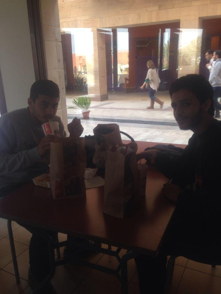 Mohanad Ibrahim and Marwan El Akad, undergraduate students enjoying a meal at the foodcourt. #JRMC2202 #JRLWeb http://t.co/H8db5HkCO9