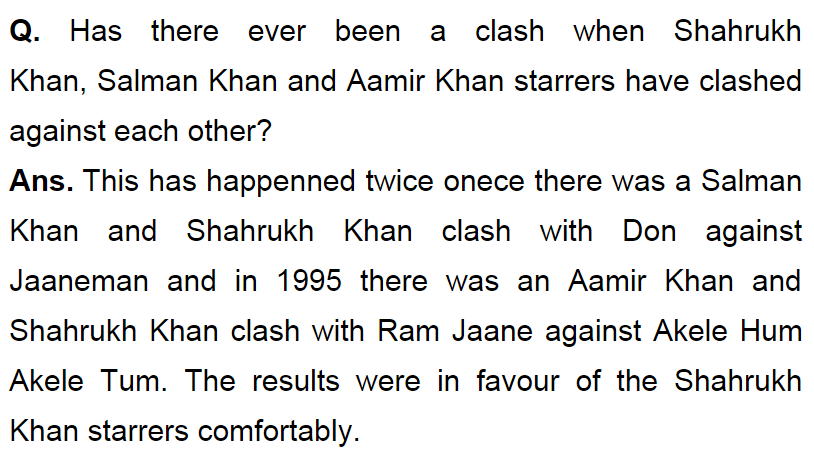 SRK defeated Salman,Aamir Khan comfortably when their films released on same date!  http://t.co/Tv0OGDF33m #Bollywood http://t.co/G57byeBUsz