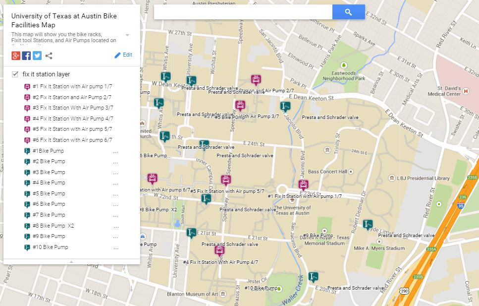 Map Of Texas University Austin.Bike Ut On Twitter Not Just Hot Air New Map Fixit Tool Stations