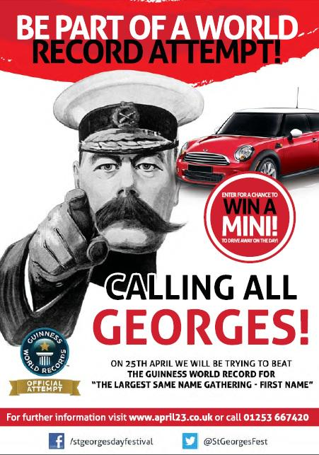 RT @StGeorgesFest: @georgesampson Can you spread the word about our #GeorgeWorldRecord attempt for charity? We need 1,097 Georges! http://t…