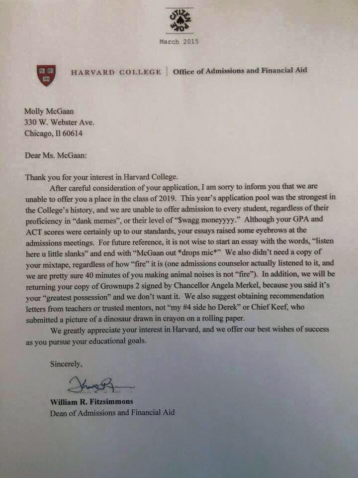 I didnt get acepted 2 harvard
