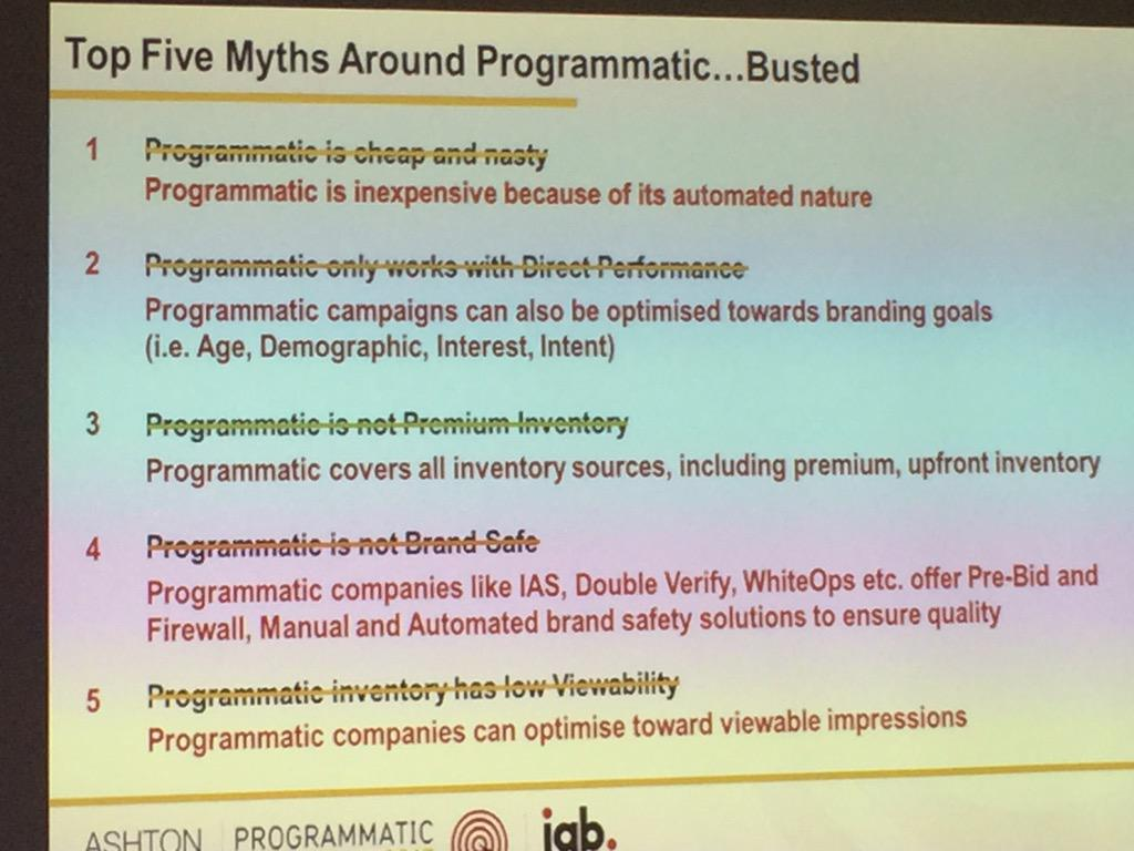 RT @mediascope_: Sarah Wyse from @VideologyGroup busting the Top 5 Myths about Programmatic  #programmatic15 http://t.co/4nb1GpjBth