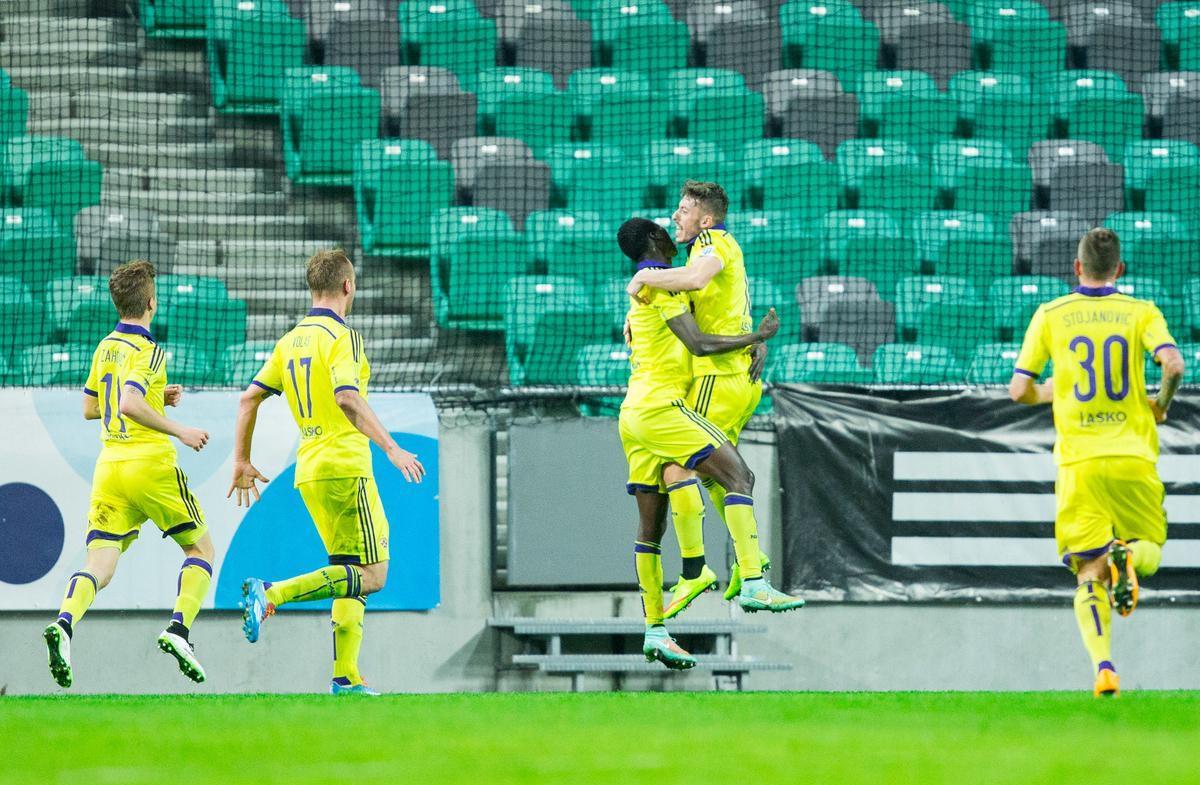 Ibraimi celebrates with the goalscorer