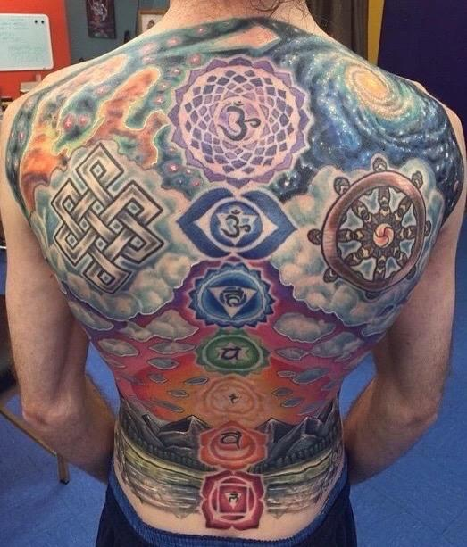 "Daily Tattoos on Twitter: ""Back tattoo of chakras! 😌 # ..."