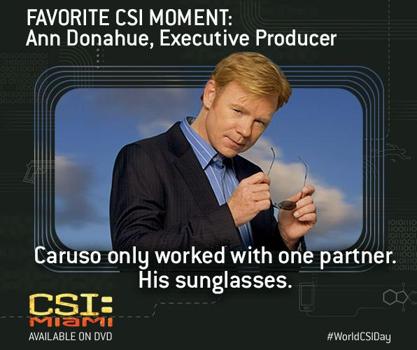 "#CSIMiami fav moment: ""Caruso only worked with one partner. His sunglasses."" - EP Ann Donahue #WorldCSIDay http://t.co/EmD8N1GIcy"