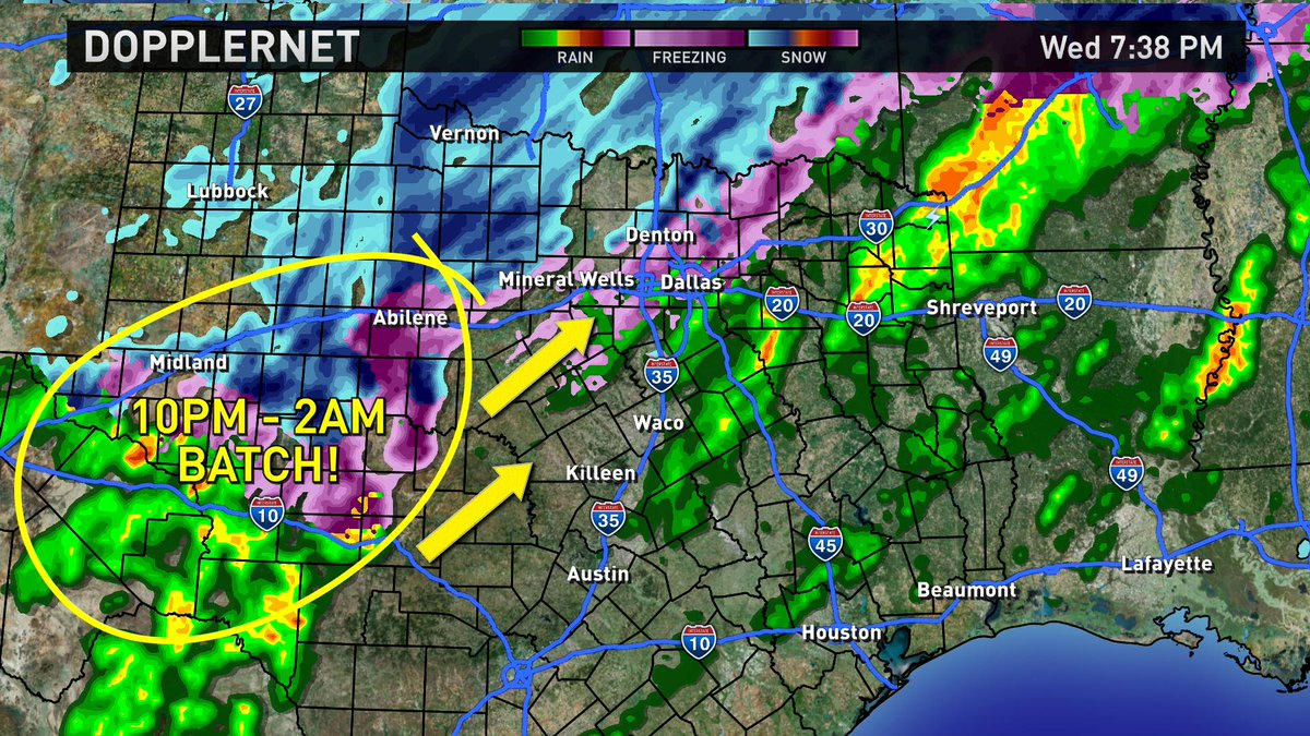 Here it comes baby! The Mother Lode!! This will arrive in Dallas/Fort Worth after 10pm & cover us in sleet & snow!! http://t.co/42A1VEqyRM