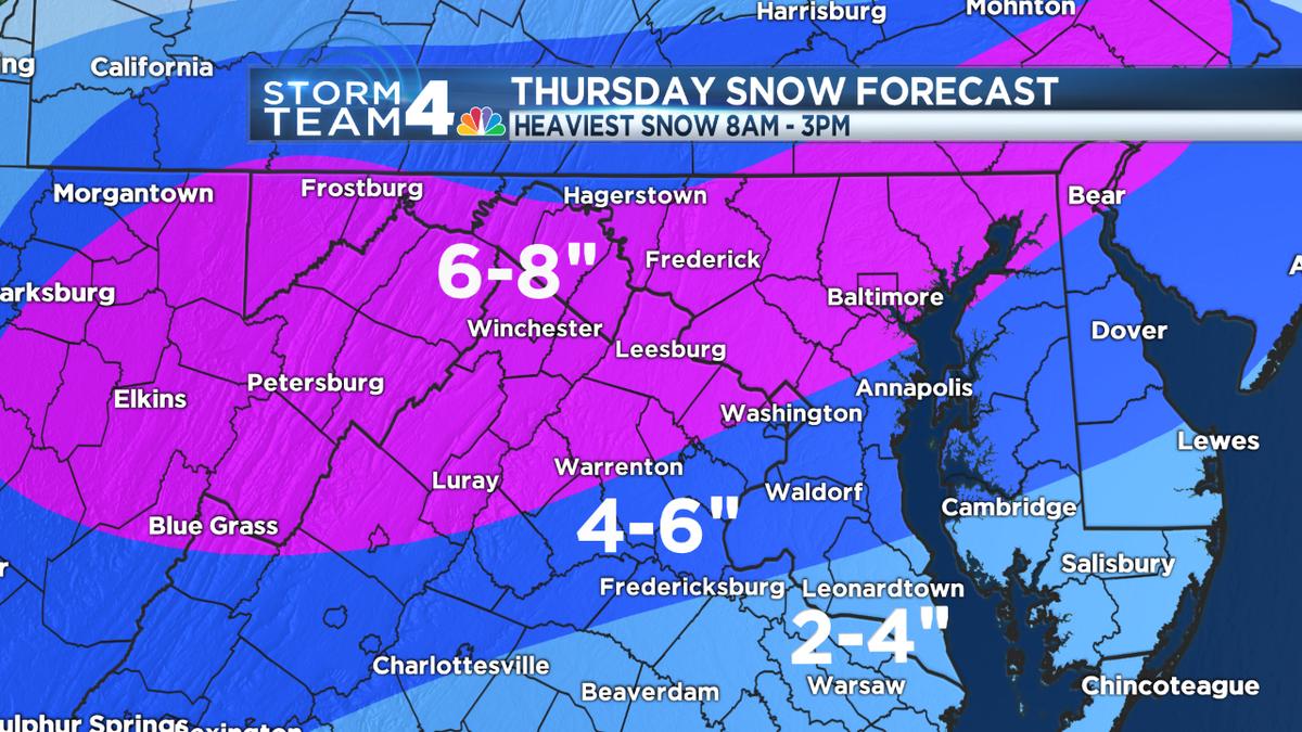 Here is our latest #NBC4 #SNOW fall map. Please retweet. Some totals are higher than earlier shows. Be safe tomorrow http://t.co/fhEMMFnVT3