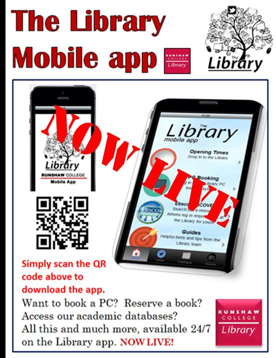 runshaw college library on twitter the library app is now live