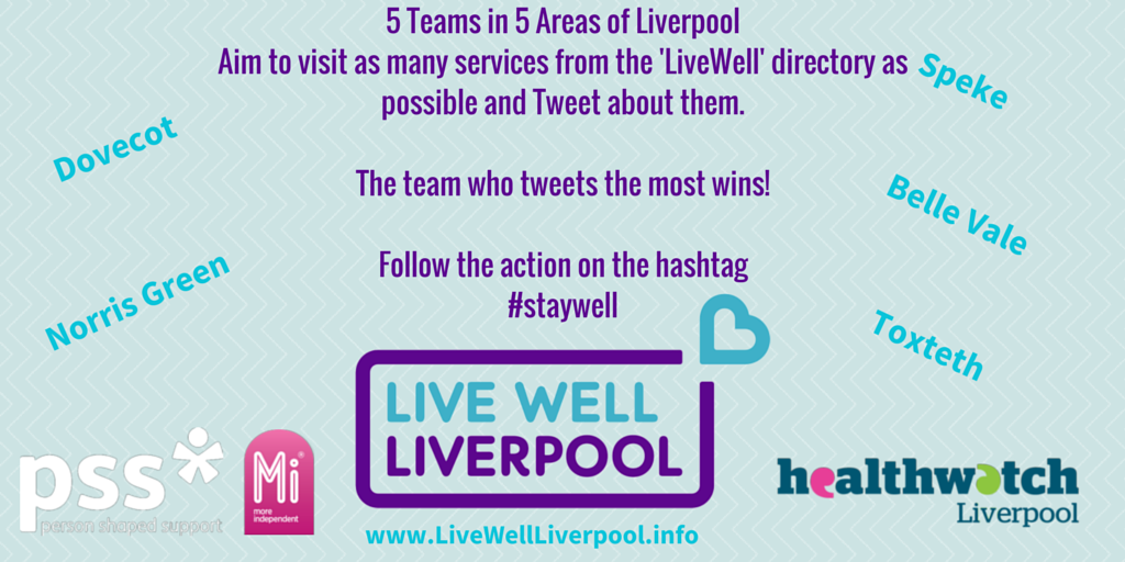Today we're doing the @LiveWellLpool Twitter Chase! Visiting as many services from LiveWell as possible! #staywell http://t.co/suTMrjvKpi
