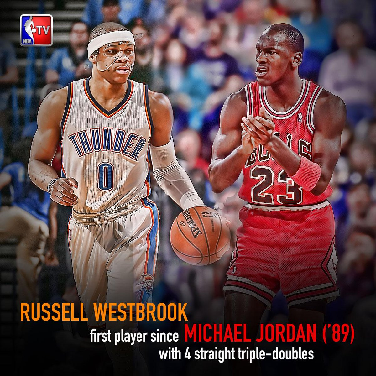 """the latest 9aa4c ac9ee """" NBATV  In rare air-  RussWest44 becomes first since MJ to post four straight  triple-doubles (MJ had 7). pic.twitter.com aRgHrMykH6"""""""