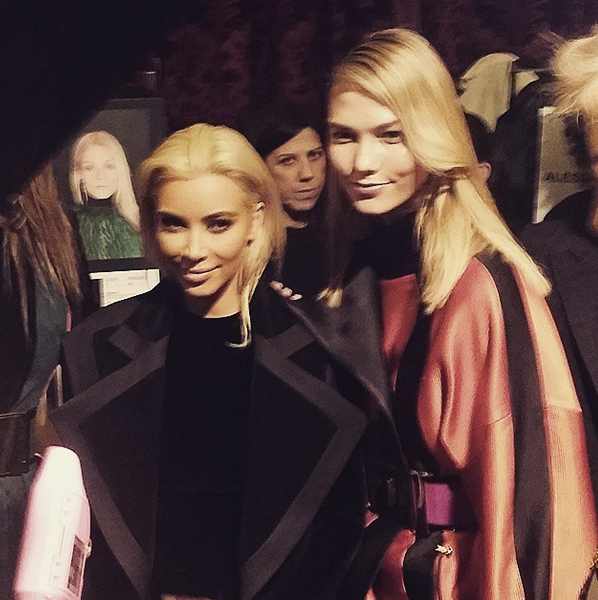 Do blondes have more fun? @KimKardashian and @karliekloss backstage at @balmain #PFW http://t.co/JE6nHqFcxd