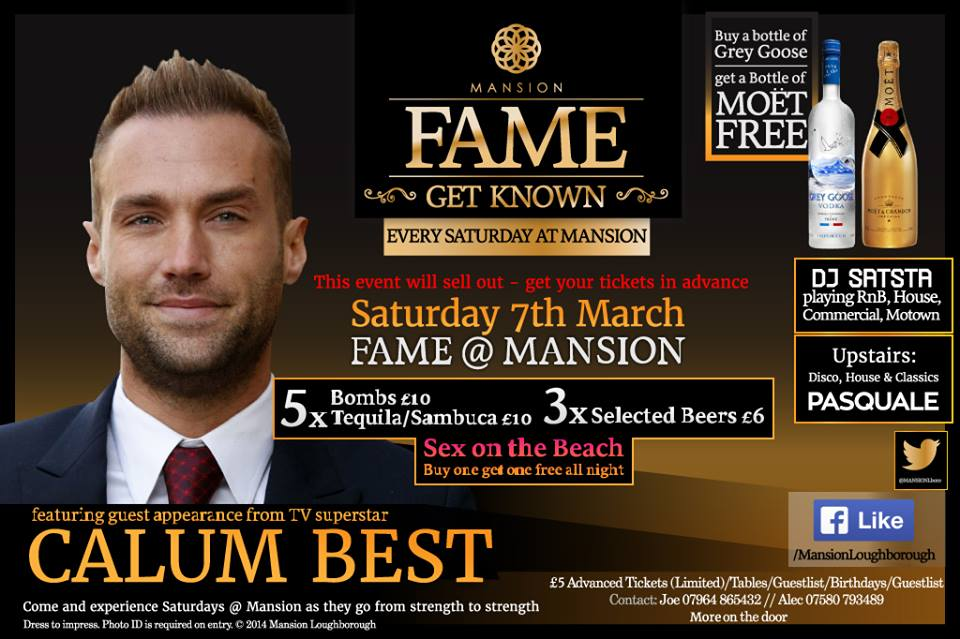 .@calumbest is at Mansion this Saturday  For VIP or to book a table, call: 07964 865432   #VIP #Mansion #Loughborough http://t.co/R0Uj8XXqoh