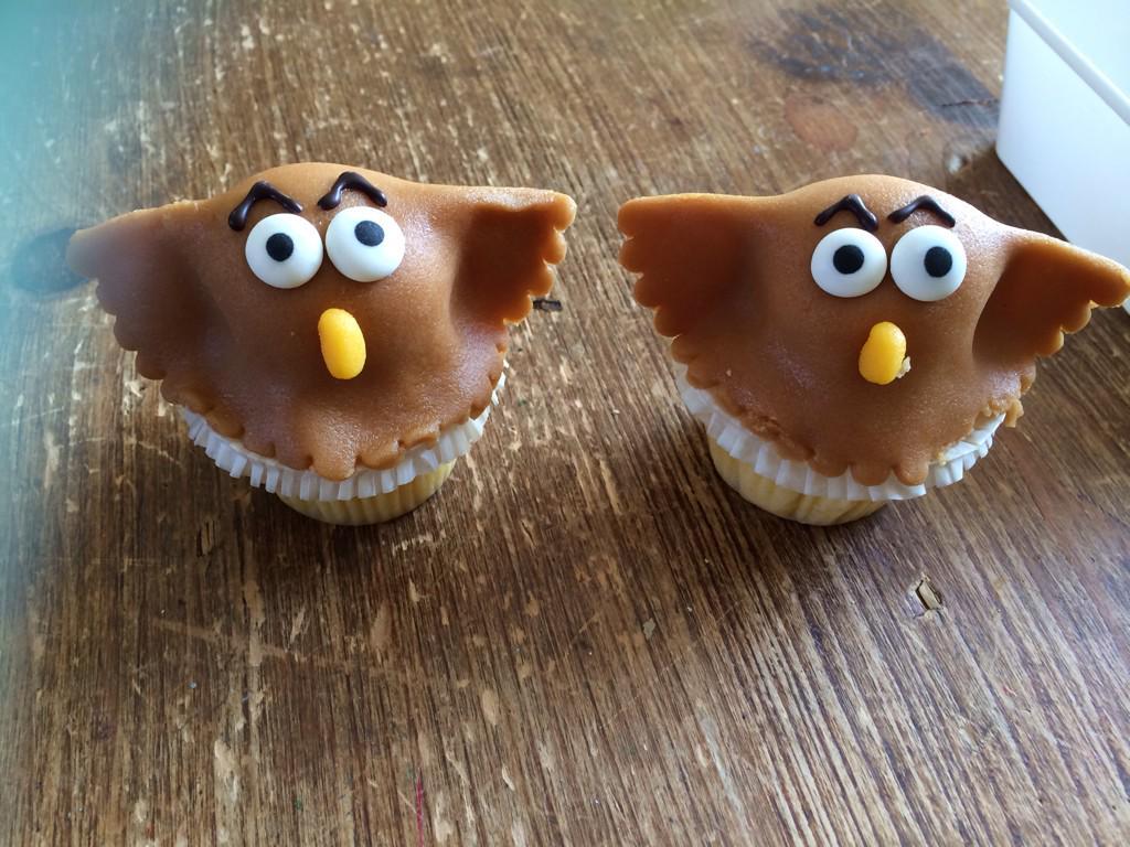 Eagle owl marzipan cakes