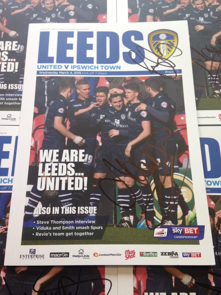 RT this for a chance to win 1/5 copies of last night's programme signed by scorers Alex Mowatt & Billy Sharp. #lufc http://t.co/eO3o4EF3Ou
