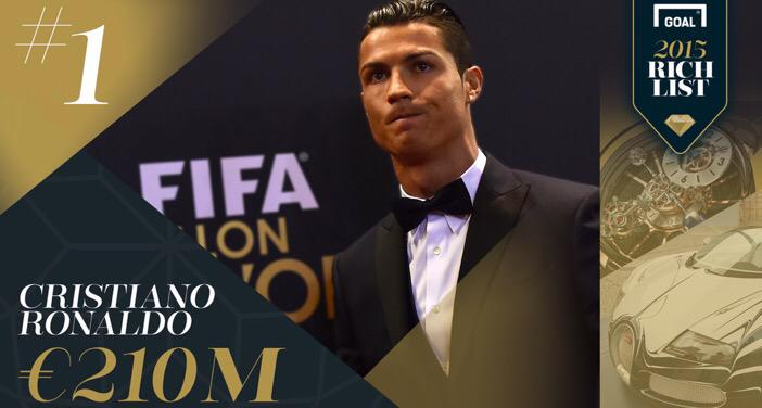 liga avec une fortune estim e 210m ronaldo est le joueur le plus riche du monde via. Black Bedroom Furniture Sets. Home Design Ideas