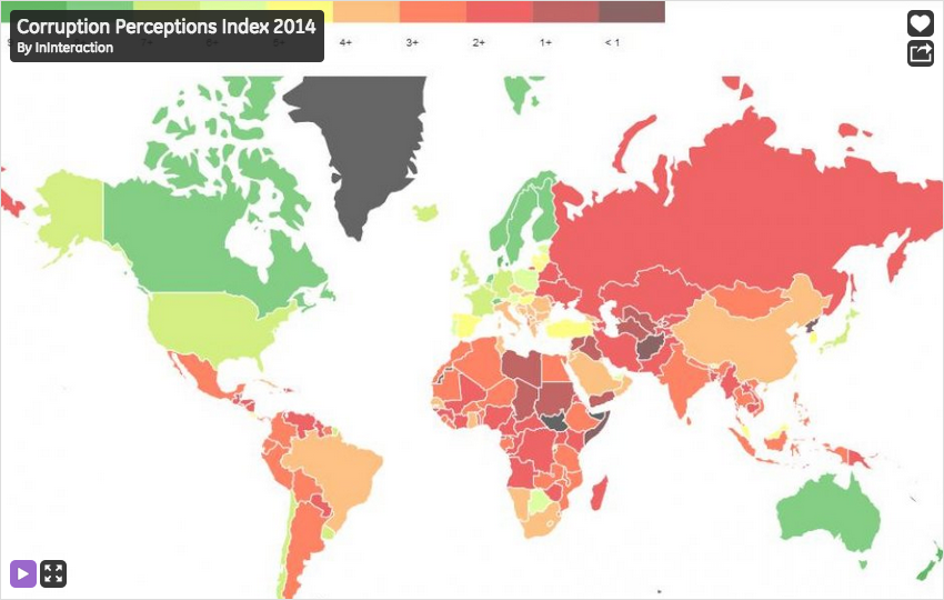 Corruption Perceptions Index in 2014 — by @ininteraction. http://t.co/zQAasCVcN6 http://t.co/qRyY4Dj5yR