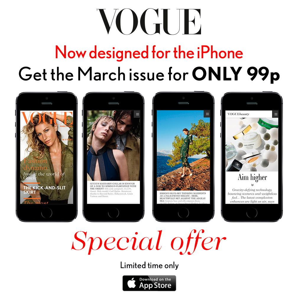 A treat from Vogue: Get the March issue on your iPhone for ONLY 99p http://t.co/TVyTwr7l6D http://t.co/F13cs3BNJt