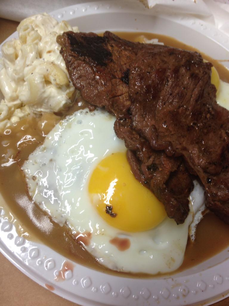 Loco Moco With Teri Beef Rainbow Drive In Oahu Hawaii Thank You Hiroshi Fukui Grindz Adam Richman Scoopnest