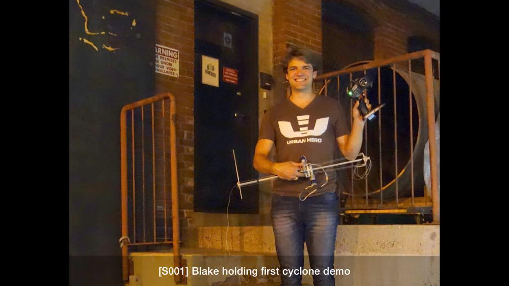 The first Cyclone rises - August 2013 - Blake Sessions @RiseRobotics in front of the old @GreentownLabs http://t.co/eirhVJmXxi