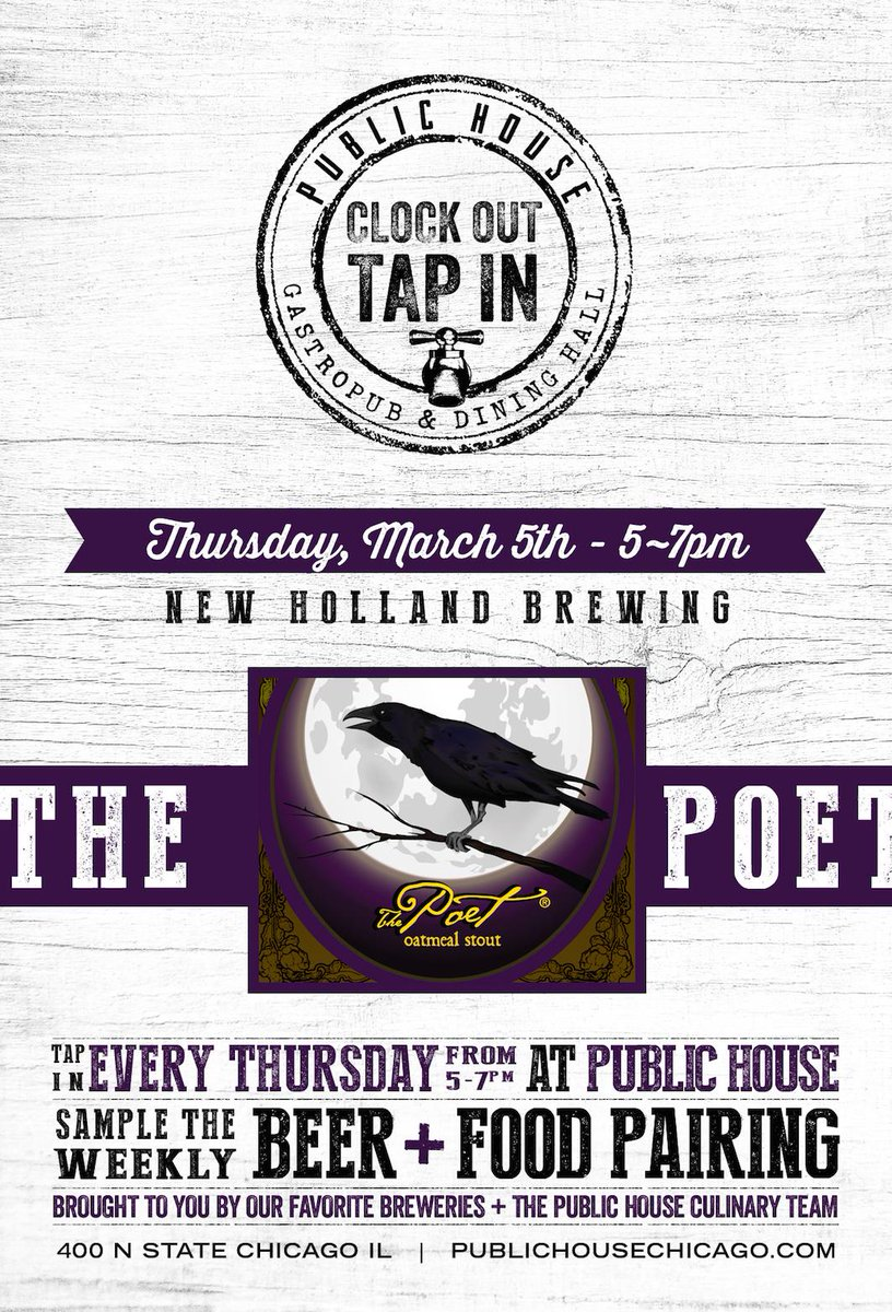 #ClockOutTapIn with us tonight & @newhollandbrew. Complimentary tastings of #ThePoet & our #Chocolate #Cake 5-7pm! http://t.co/y1oSqrX7jE
