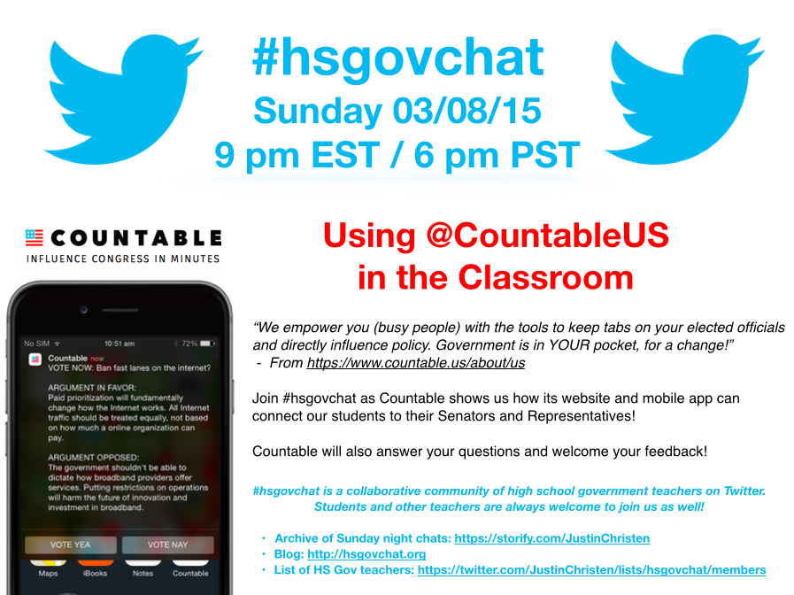 Thumbnail for #hsgovchat (03/08/15): Using @CountableUS in the Classroom