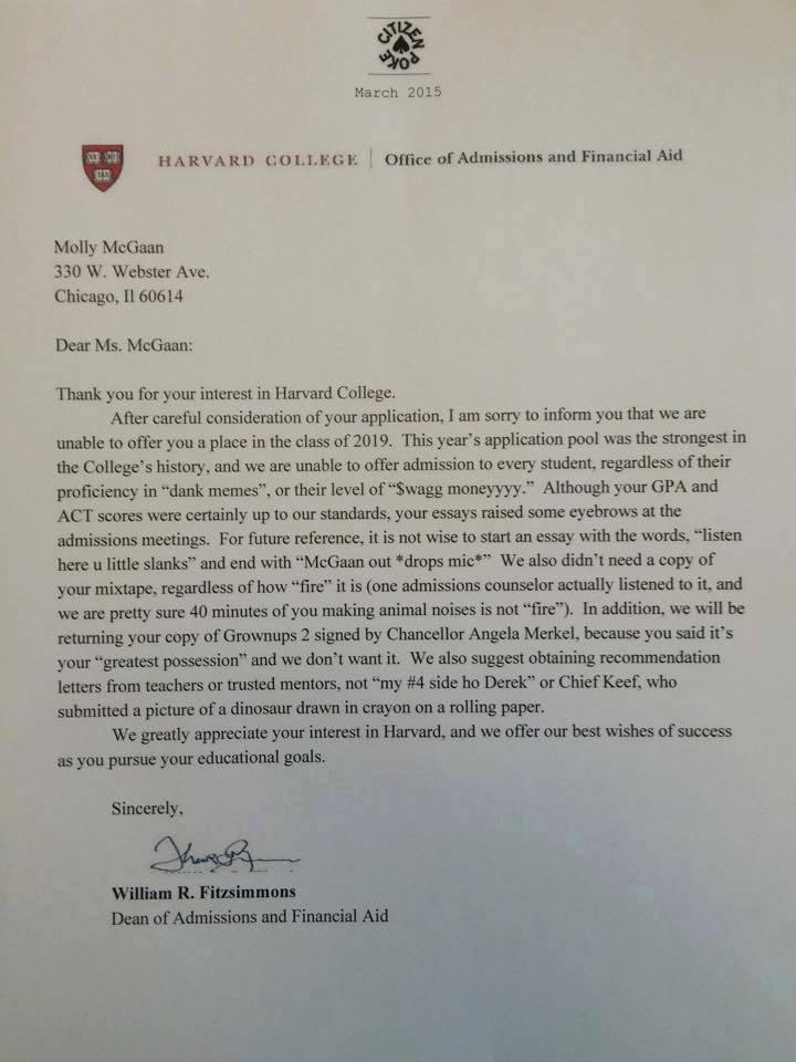 "bret taylor on twitter: ""epic harvard rejection letter (via http://t"