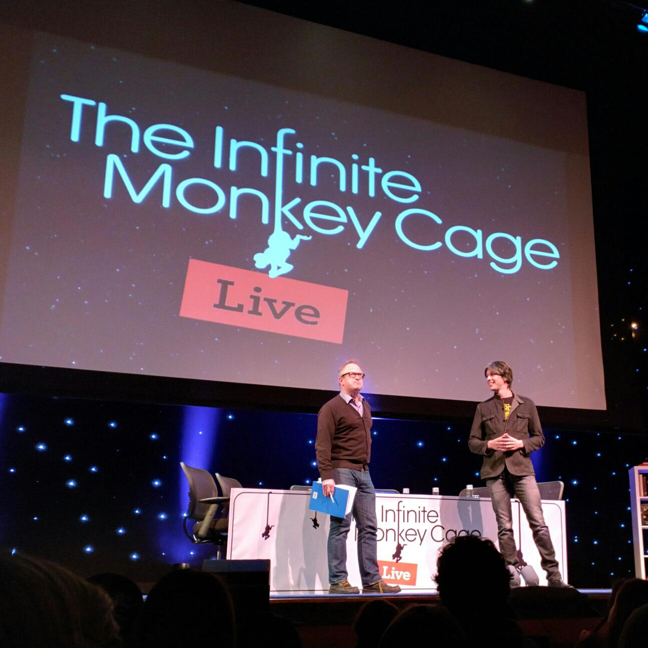 RT @joelwerner: .@robinince and @ProfBrianCox holding court at The Infinite Monkey Cage, live in NYC. http://t.co/pug67BSxha