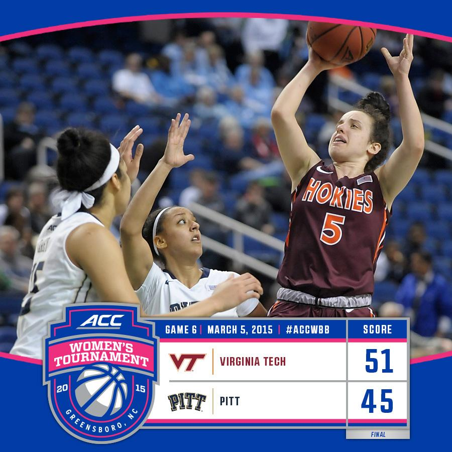 #15 @VT_WBBall keeps rolling with an upset over Pitt. The Hokies face #2 Florida State Fri. at 6 in #ACCWBB QFs. http://t.co/ZsMLWZUNlm