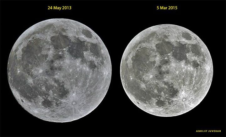 Tonight's small and distant full moon, compared to a moon close to Earth, via Abhijit Juvekar http://t.co/M2ZCu9VItn http://t.co/XOTO4P5umm