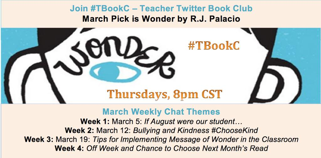 Thumbnail for #TBookC - March 5 Chat on Wonder