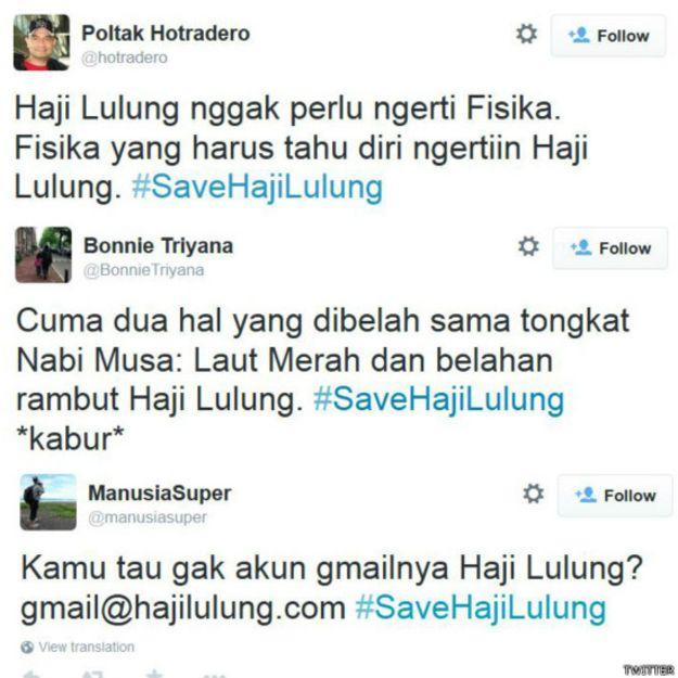 Simak kicauan #SaveHajiLulung pilihan termasuk dari @hotradero, @BonnieTriyana & @manusiasuper http://bbc.in/1MdqUM4