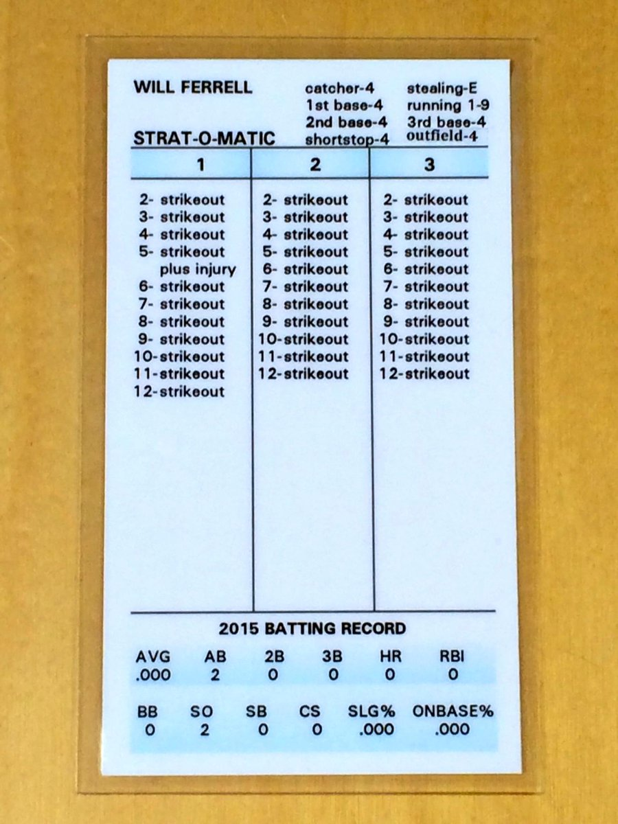 Strat-O-Matic made a card for Will Ferrell, who suited up for 10 different teams yesterday and played every position. http://t.co/GOUxVNstVY