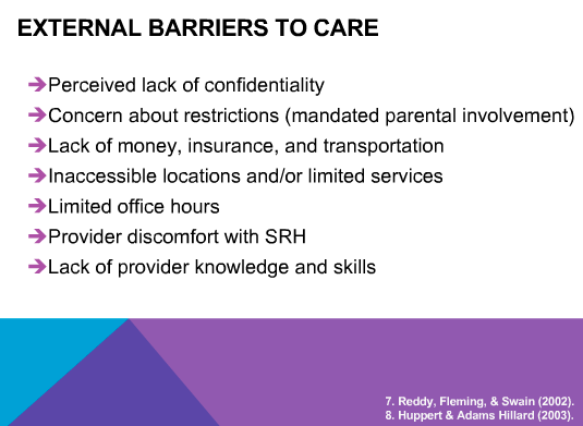 External barriers to care for adolescents getting repro care and svcs #teenhealth #reprohealth #reprojustice http://t.co/lwS0Nf5K7U