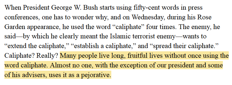 """This Newsweek article mocking Pres Bush for using the word """"caliphate"""" sure didn't age well: http://t.co/xgsKrPITIG http://t.co/RJtaW83J1U"""