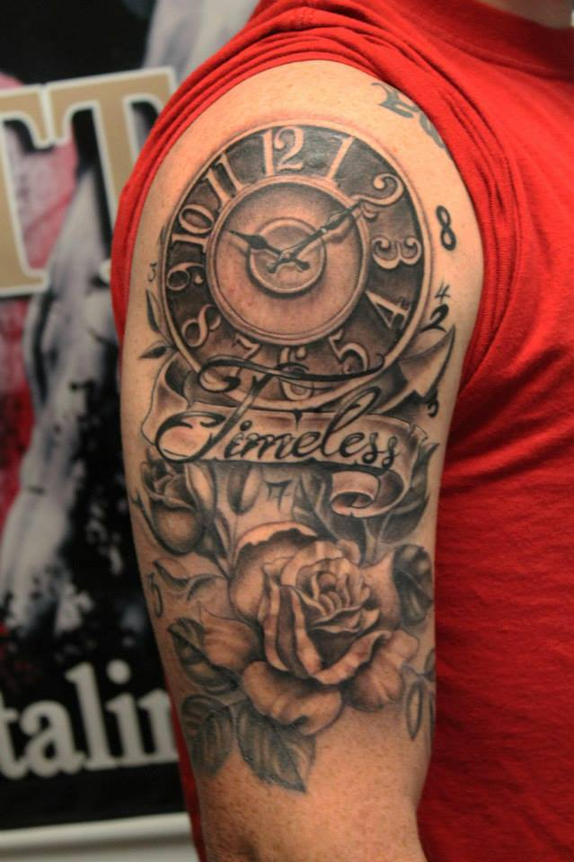 """Outta Line Tattoo on Twitter: """"#timeless #rose #clock # ..."""