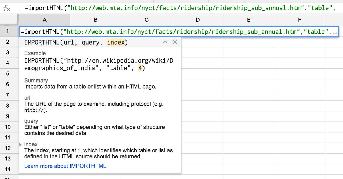 Hot damn! Google Sheets allows table scraping natively! #NICAR15 http://t.co/VjikG2B7Yu