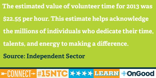 #15NTC Nonprofits can use this estimate to quantify the value their #volunteers provide: https://t.co/GGFiSZcDcD http://t.co/l1PrykXsWR
