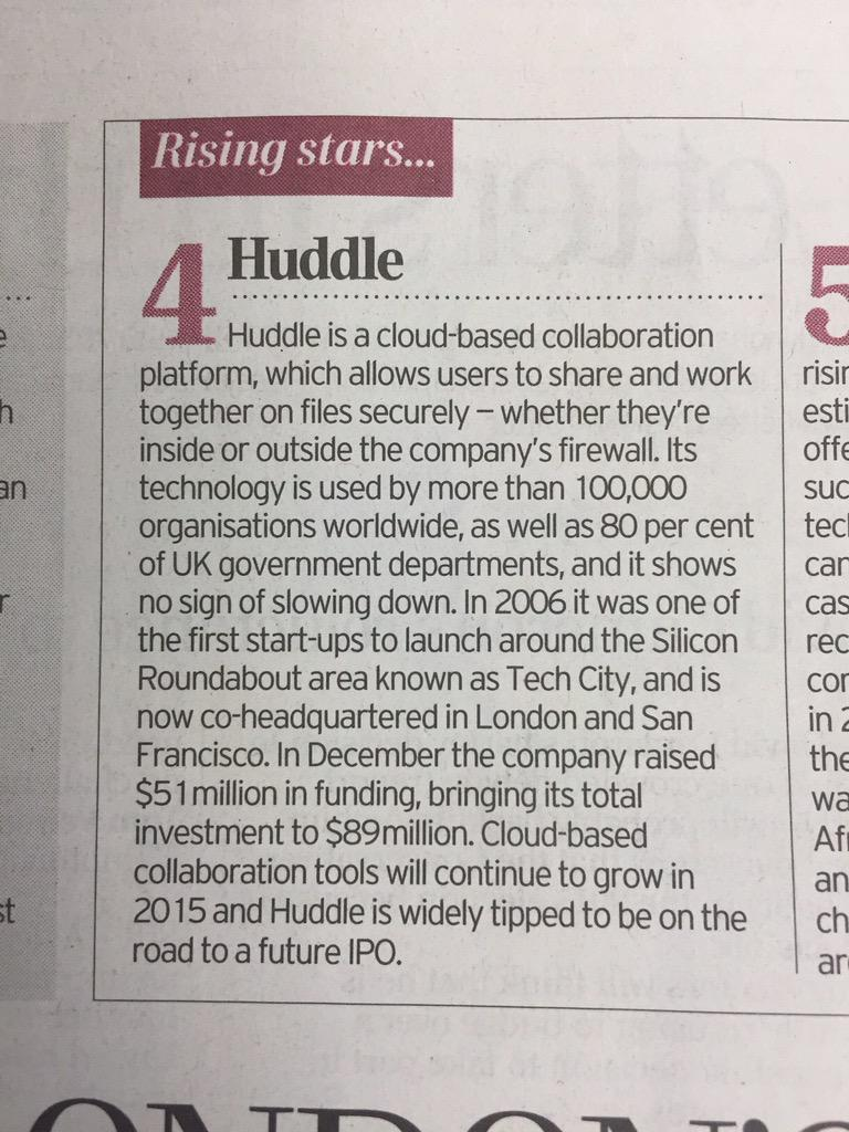 Huddle is named a London start-up rising star by the @Telegraph! Fantastic way to end the week http://t.co/R4TbOTMRhJ