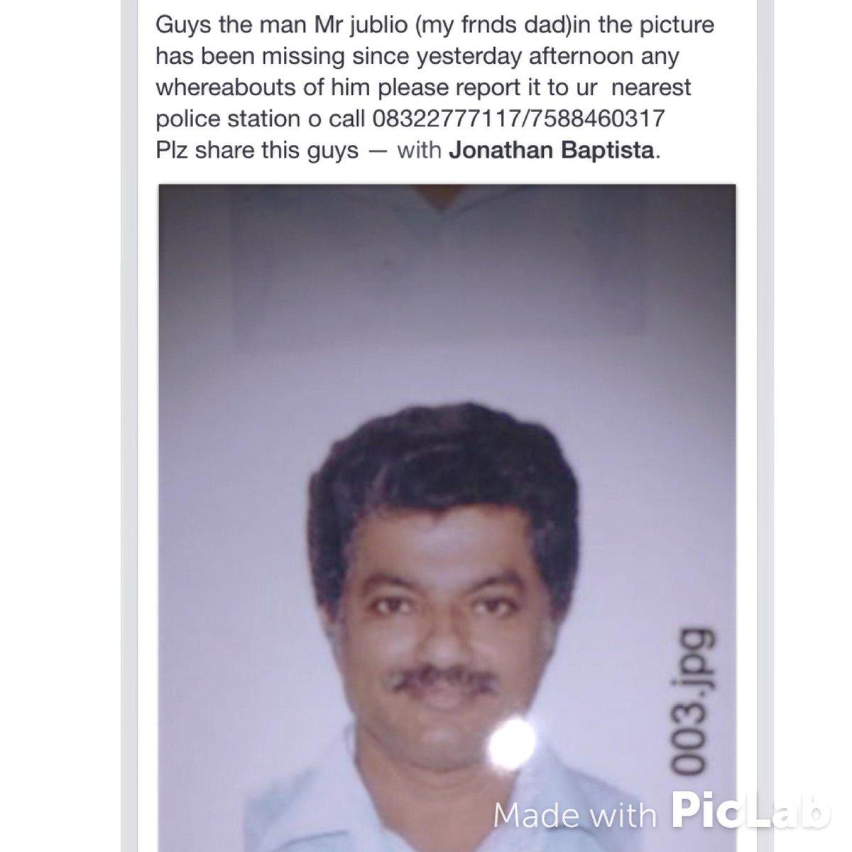 Guys, a friends father went missing on Wednesday near Ambora. Pls help with any information #plsRT @WeAreGoaaa #Goa http://t.co/k22MmDiPeu